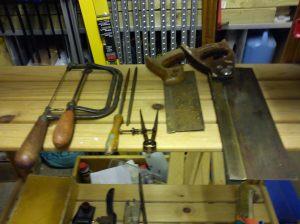 Tenon saws, coping saw, junior hacksaw and files