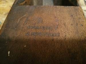 Owners stamp on wooden plane - J Honeywood