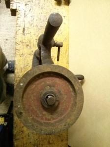 Hand drill press flywheel