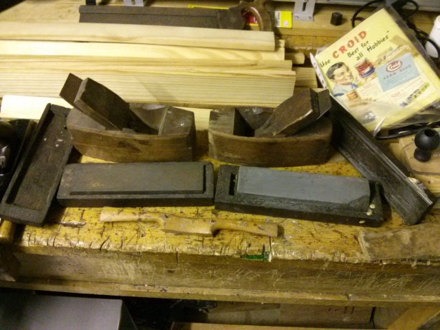 Wooden planes and sharpening stones